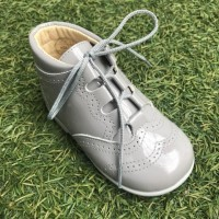 185-E Nens Grey Patent Lace up Brogue Boot
